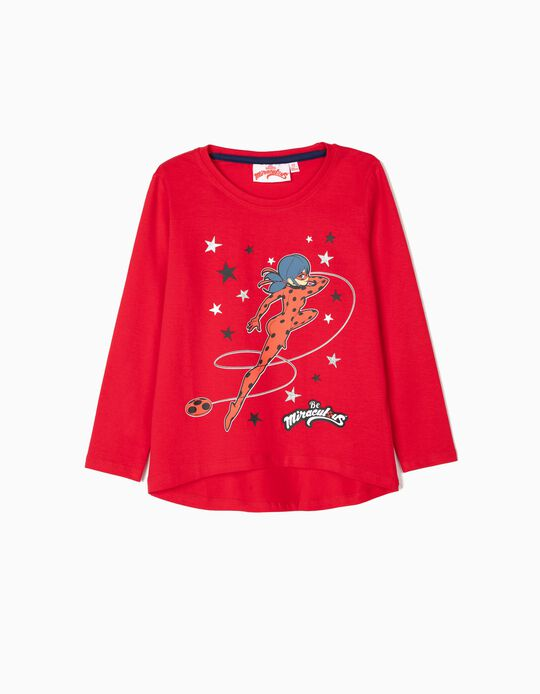 T-shirt Manga Comprida para Menina 'Ladybug', Vermelha