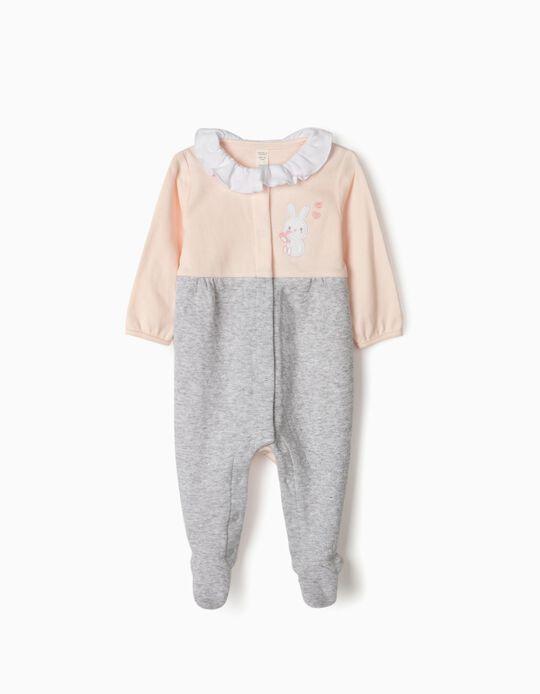 Sleepsuit for Newborn Baby Girls, 'Little Bunny', Pink/Grey