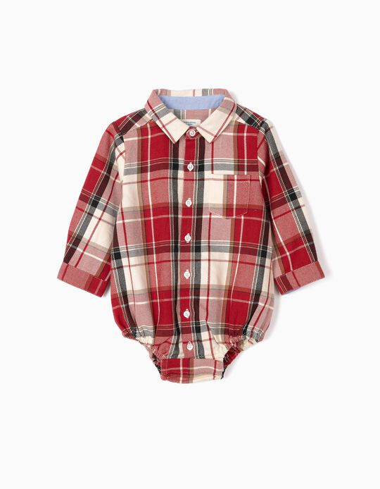 Check Bodysuit Shirt for Newborn Boys 'B&S', Red/White