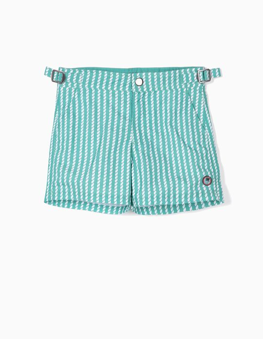 Printed Swim Shorts for Boys, Aqua Green