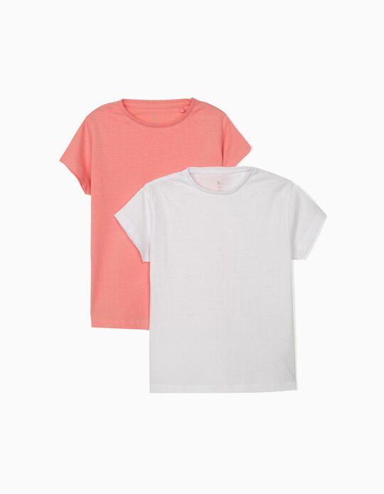 2 Camisetas para Bebé Niña, Blanco/Rosa