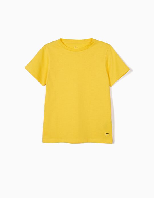 T-shirt Básica para Menino, Amarelo
