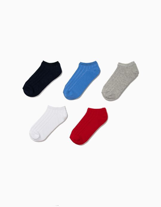 Pack 5 Calcetines Cortos de Canalé para Niño, Varios Colores