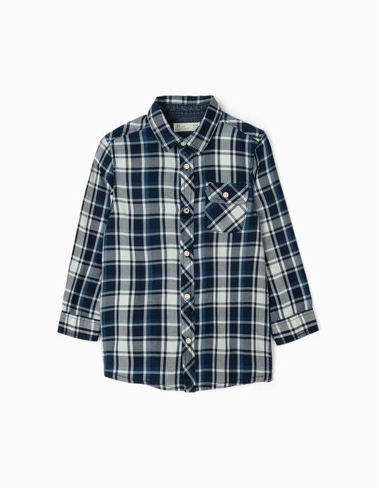Chemise à carreaux garçon, bleu