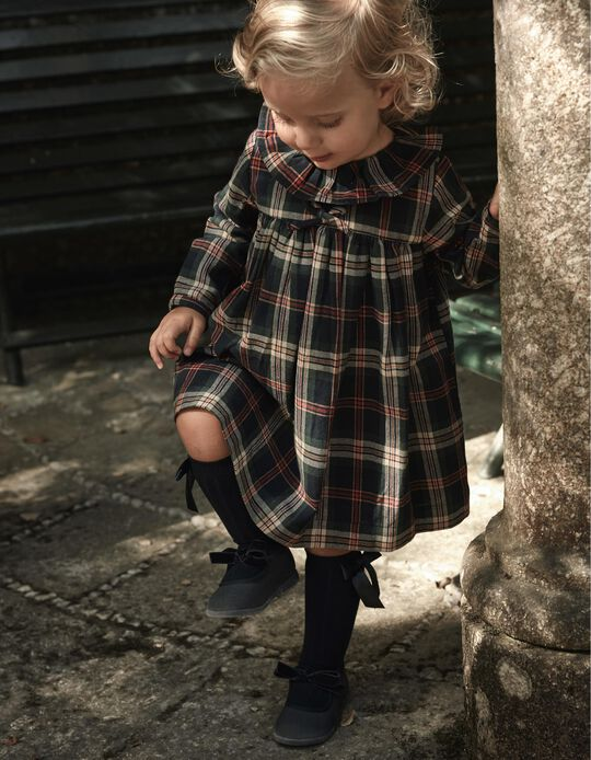 Vestido Xadrez para Bebé Menina 'B&S', Verde/Azul