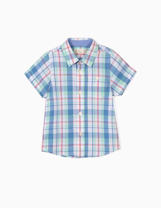 Camisa para Bebé Menino Quadrados, Azul