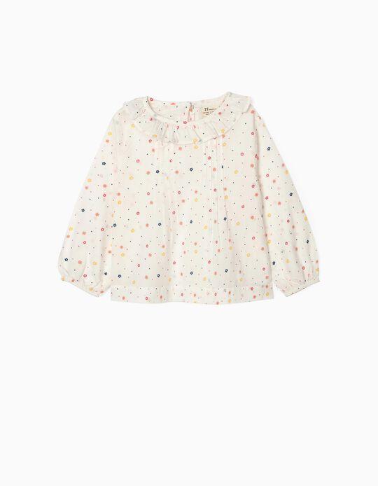Blusa Flores para Niña, Blanco