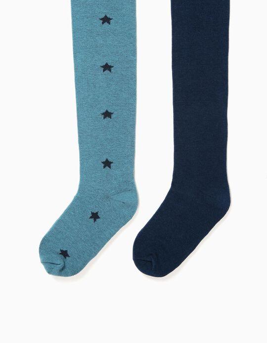 Pack 2 Leotardos de Punto Azules y Estrellas