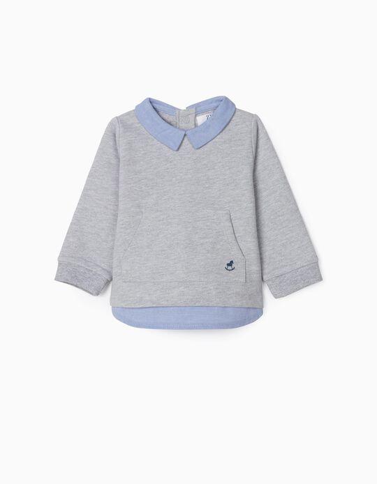 Sweatshirt Combinada para Recém-Nascido, Cinza/Azul