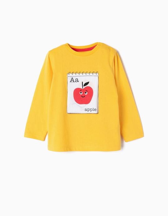 Camiseta de Manga Larga para Bebé Niño 'ABC', Amarilla
