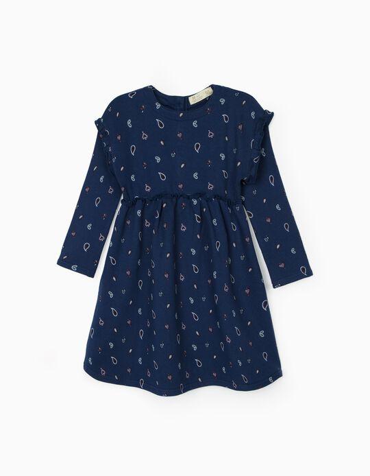 Vestido com Motivo de Cornucópias para Menina, Azul
