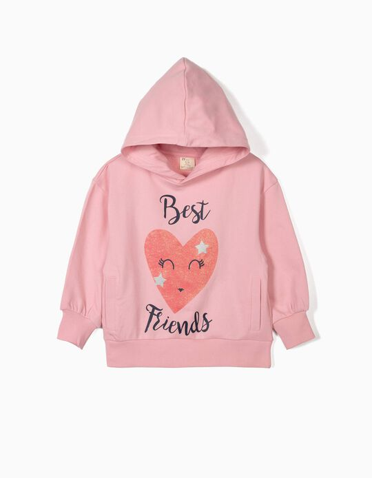 Sweat ´Best Friends´ avec capuche pour fille, rose