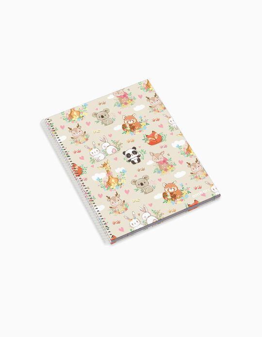 Caderno Espiral A4 Pautado 'Ambar Pets Friends Woodland', Sortido