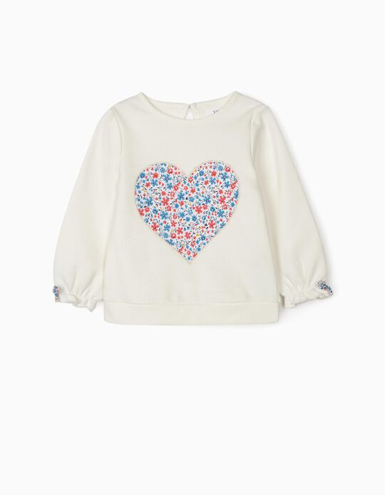Sweatshirt for Baby Girls 'Heart', White