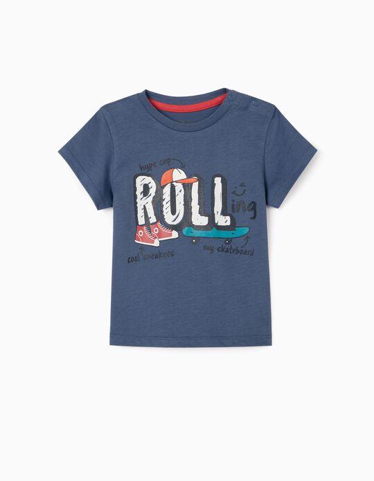 T-shirt para Bebé Menino 'Rolling', Azul