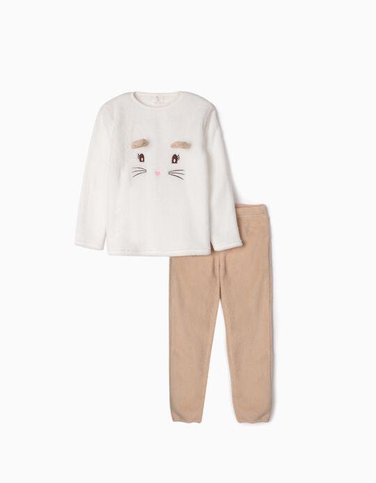 Pijama de Coralina para Niña 'Cute Cat', Blanco/Beige