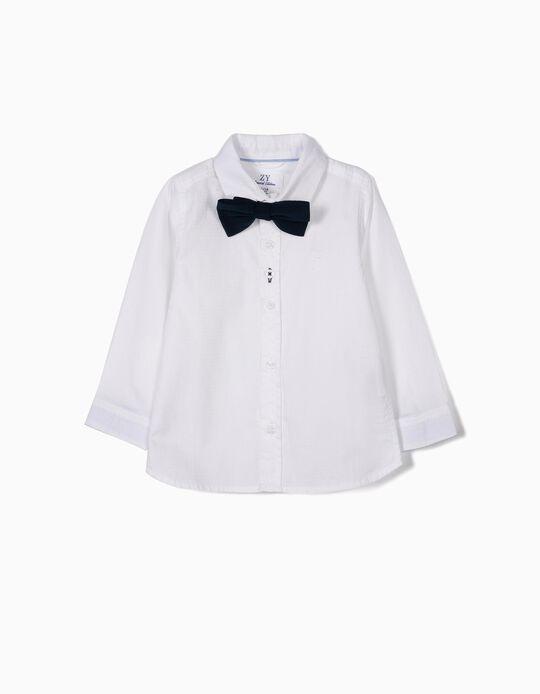 Camisa com Laço para Bebé Menino, Branco