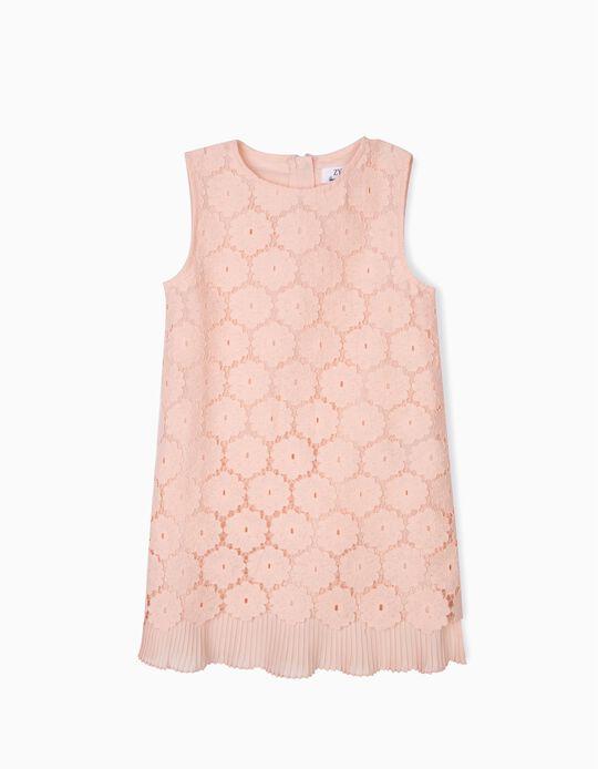 Vestido de Encaje para Niña, Rosa Pastel