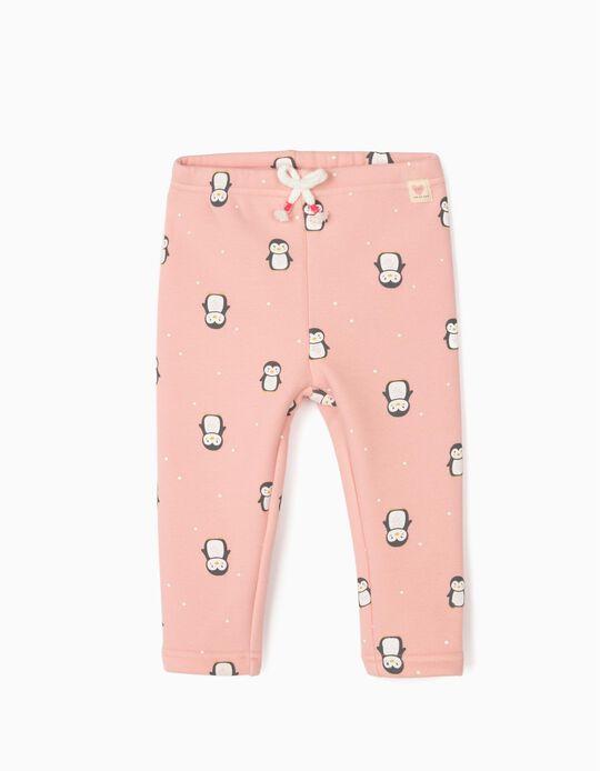 Calças para Bebé Menina 'Penguins', Rosa