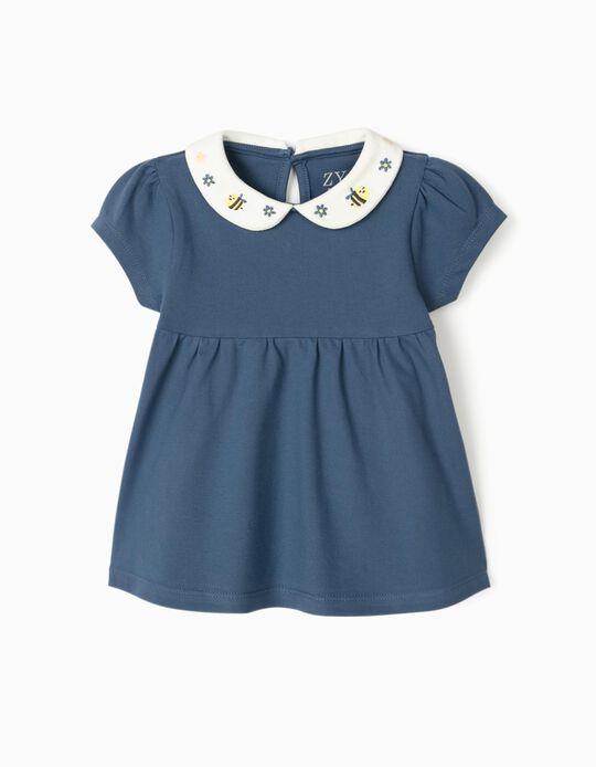 Blusa Piqué para Bebé Menina 'Bee', Azul