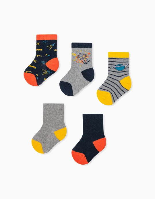 5 paires de chaussettes bébé garçon 'Stripes & Planets', multicolore