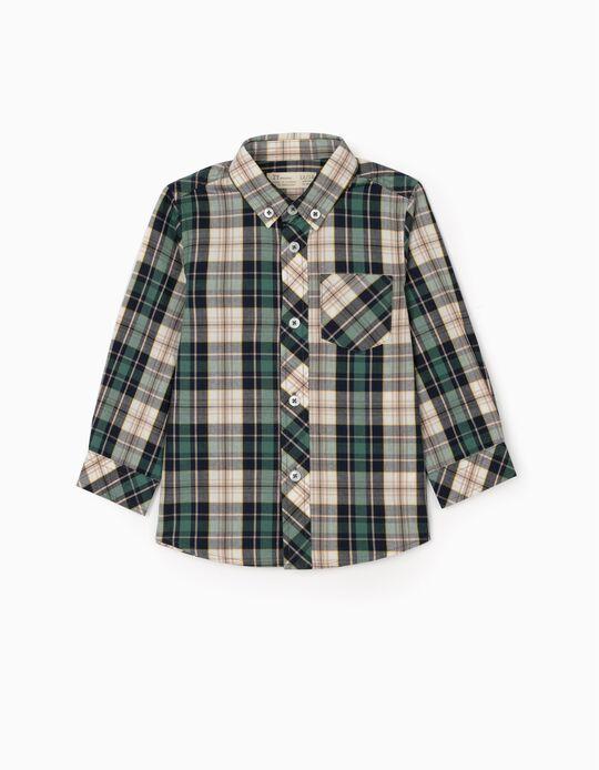 Camisa Ajedrez para Bebé Niño, Verde/Azul/Beige