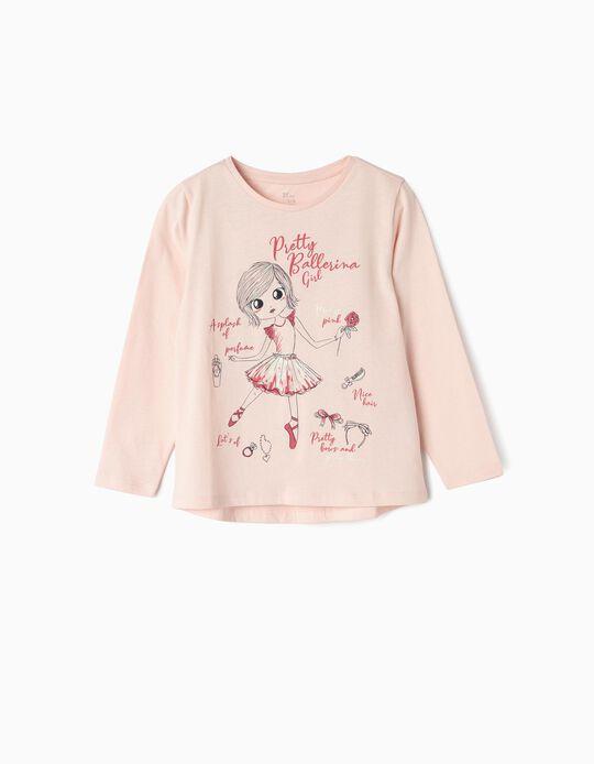 T-shirt Manga Comprida para Menina 'Ballerina Girl', Rosa