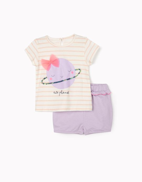 T-shirt and Shorts for Baby Girls 'Cute Planet', White/Lilac/Pink