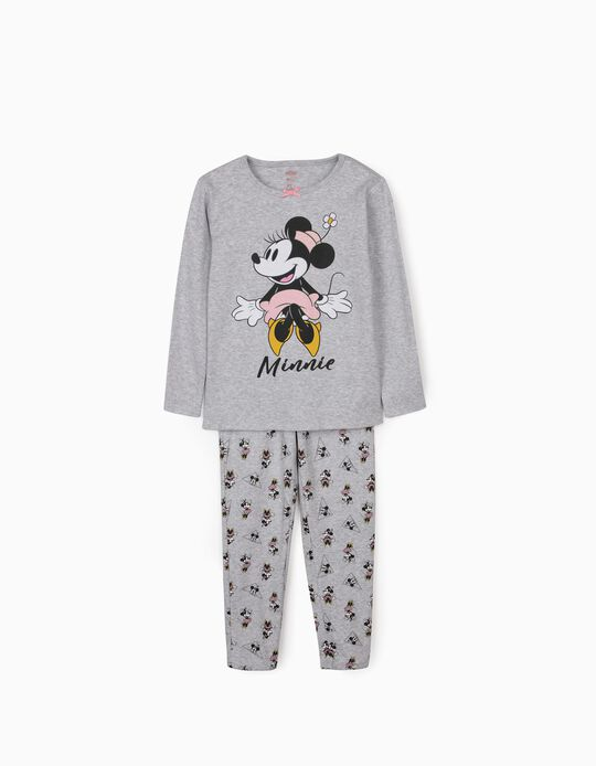 Long Sleeve Pyjamas for Girls, 'Minnie Mouse', Grey