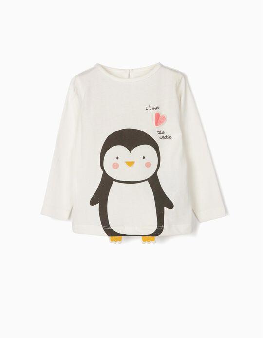 T-shirt Manga Comprida para Bebé Menina 'Cute Penguin', Branco