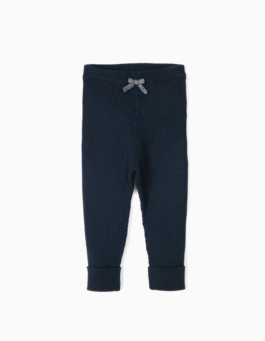 Pantalón de Punto Canalé para Recién Nacida, Azul Oscuro