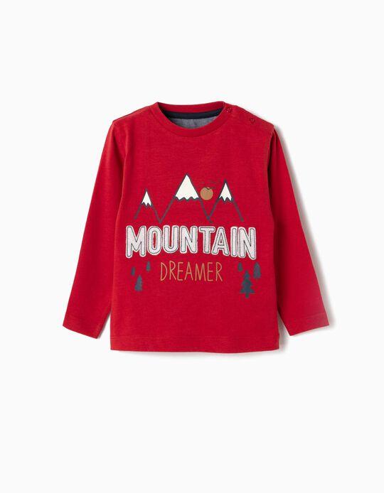 Camiseta de Manga Larga para Bebé Niño 'Mountain Dreamer', Roja