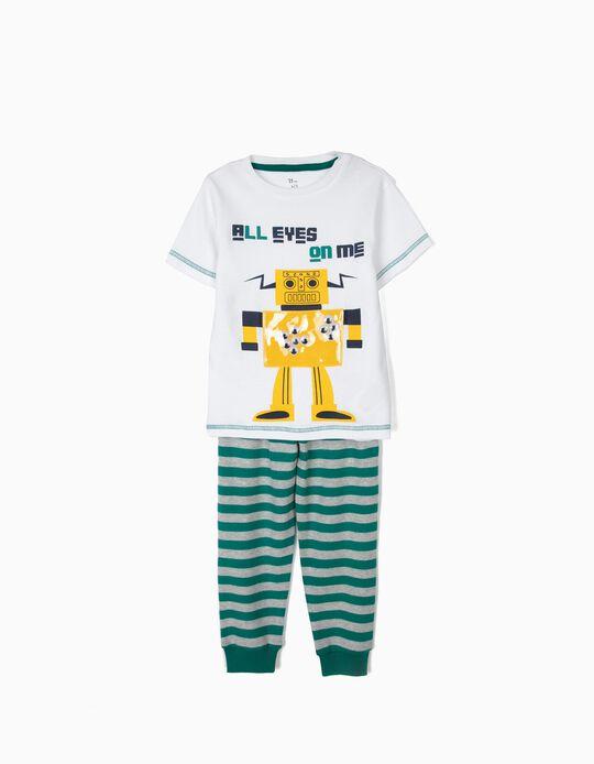 Pijama para Niño 'Robots' a Rayas de Manga Corta, Blanco y Verde