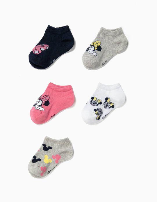5 Pares de Meias Curtas para Bebé Menina 'Minnie', Multicolor