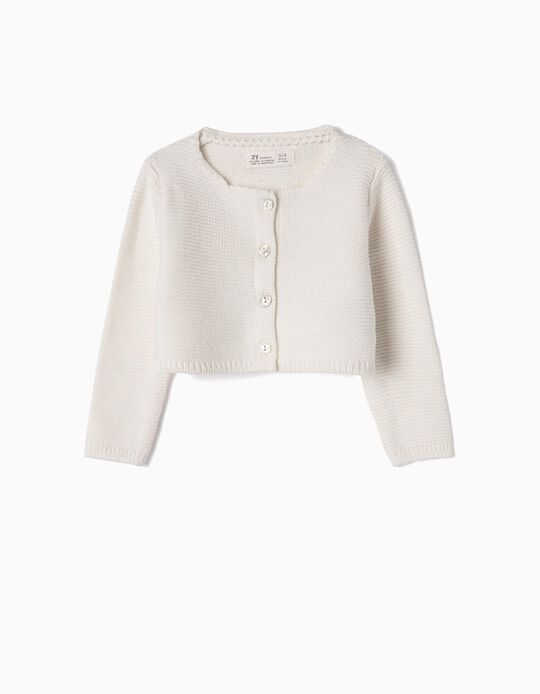 Bolero Jacket for Newborn Girls, White