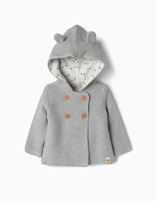 Hooded Knit Cardigan for Newborn, Grey