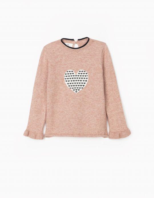 Camisola de Malha para Menina, 'Heart', Rosa