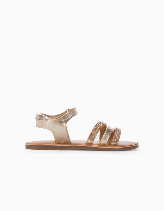 Leather Sandals with Glitter for Girls, Golden