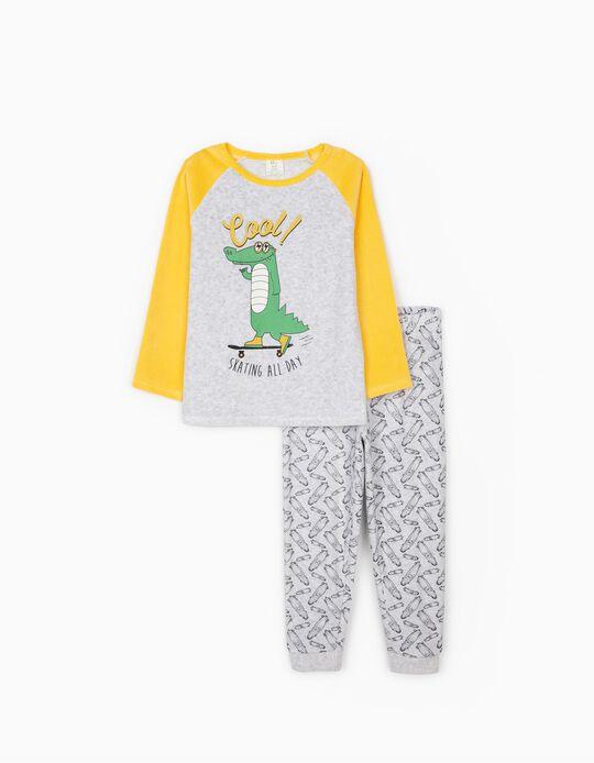 Pijama Terciopelo para Niño 'Cool', Gris/Amarillo