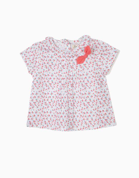 Blusa para Bebé Niña de Flores, Blanca y Rosa