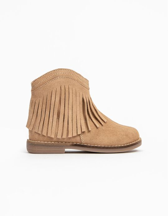 Suede Boots for Baby Girls, Camel