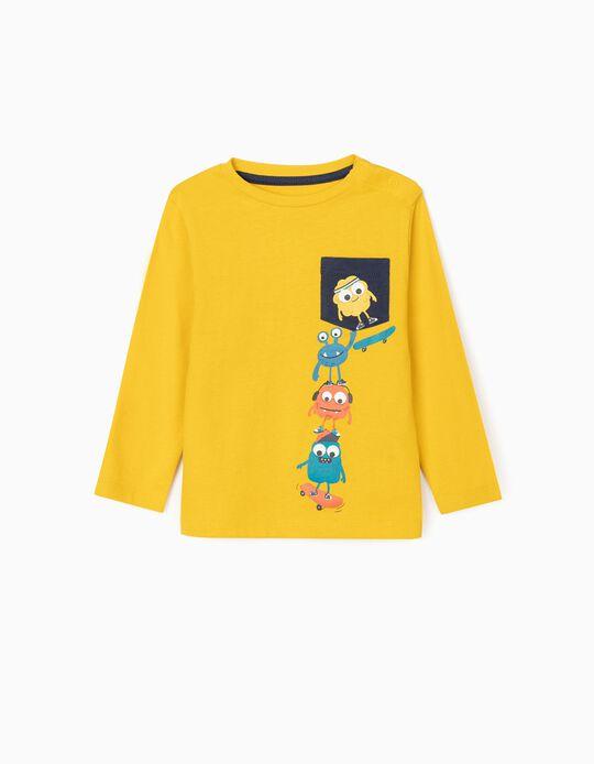T-Shirt de Manga Comprida para Bebé Menino 'Monsters', Amarelo