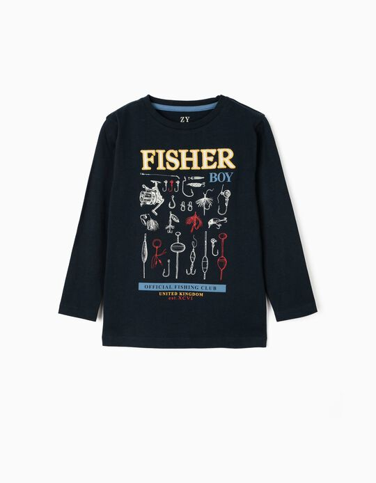 Long Sleeve Top for Boys, 'Fisher Boy', Dark Blue