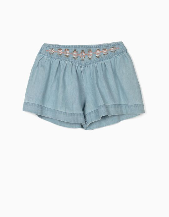 Denim Shorts with Beads for Girls, Blue
