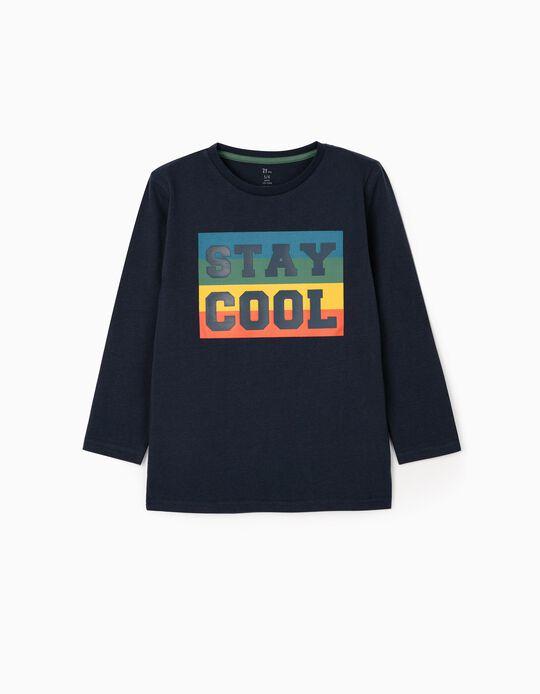 T-Shirt Manches Longues Garçon 'Stay Cool', Bleu Foncé