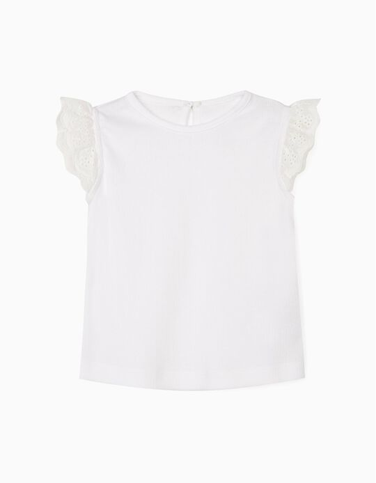 Rib Knit T-shirt for Baby Girls, White