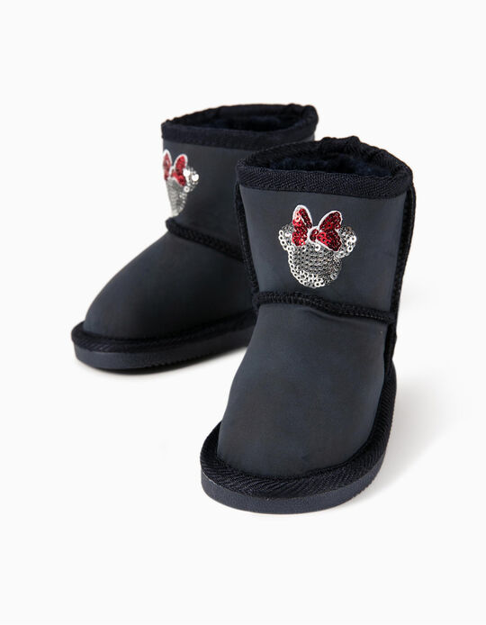 Minnie Mouse' Boots with Faux Fur Trim for Baby Girls, Dark Blue