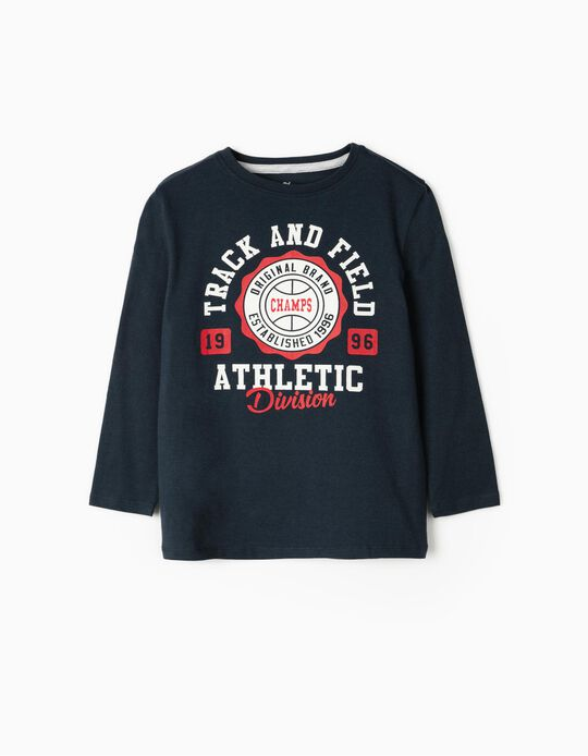 Long Sleeve 'Champs' Top for Boys, Dark Blue