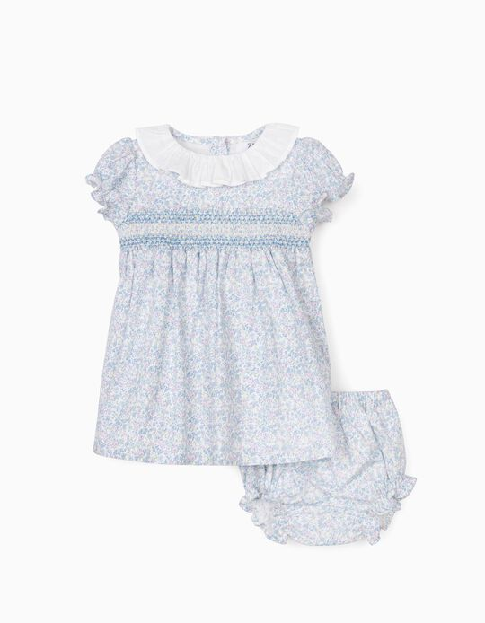 Floral Dress with Bloomer Shorts for Newborn Baby Girls, White/Blue