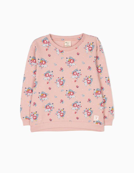 Sweatshirt Flores Rosa